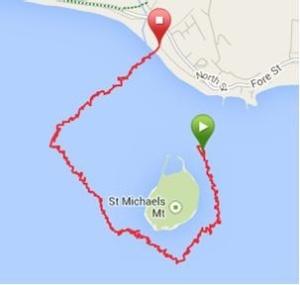 Manda's route round St. Michael's Mount