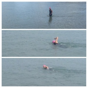 Katie swimming in Lake Michigan