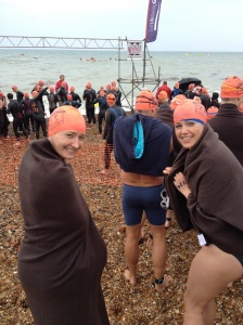 Suz and Katie at the start of the swim