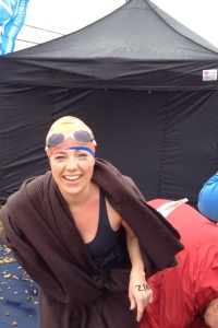 Suz at the end of the swim