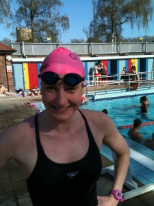Katie at the end of the 2013 swimathon at London Fields Lido