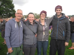 Brian, David, Kate and Katie after the swim